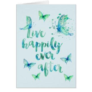 Live Happily Aqua Butterflies Watercolor Greeting Card