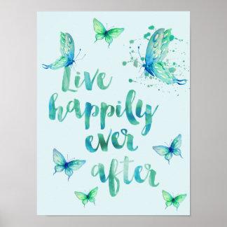 Live Happily Aqua Butterflies Watercolor Poster