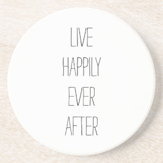 Live Happily Ever After Black and White Typography Coaster