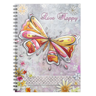 Live Happy Butterfly Notebook