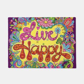 Live Happy Door Mat - Colorful Phrase Doormat