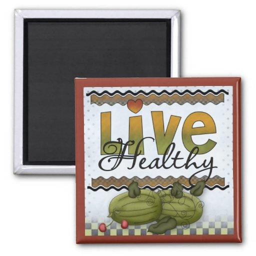 Live Healthy Fruits Kitchen Magnet