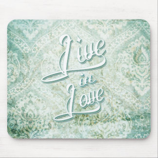 Live In Love vintage damask with tattoo script Mousepad