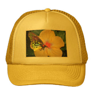 Live in the Moment Butterfly on Flower Designs Trucker Hats