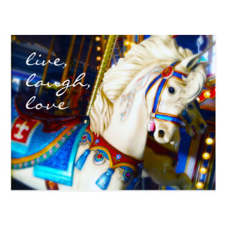"""Live"" inspiration carousel horse photo postcard"