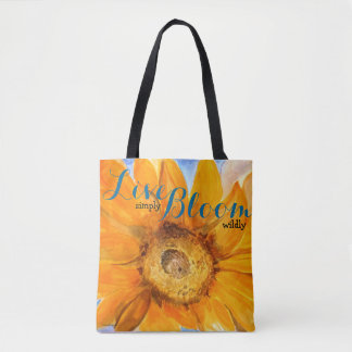 Live Inspiration Sunflower Art All Over Print Tote