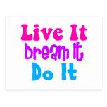 Live It, Dream It, Do It Postcards