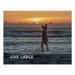 """Live Large"" Beach Sunset Poster (14"" x 11"")"