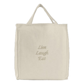 Live Laugh Eat Embroidered Bags