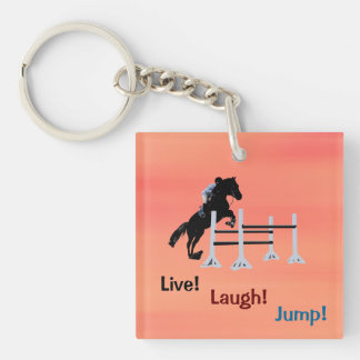 Live! Laugh! Jump! Equestrian Horse Single-Sided Square Acrylic Key Ring