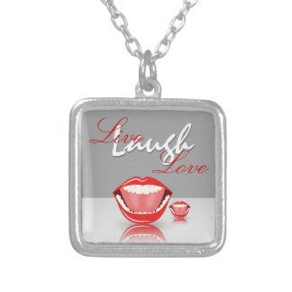 Live Laugh Love Big Mouth Square Necklace Necklaces
