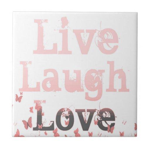 Live, Laugh, Love Butterflies Ceramic Tile