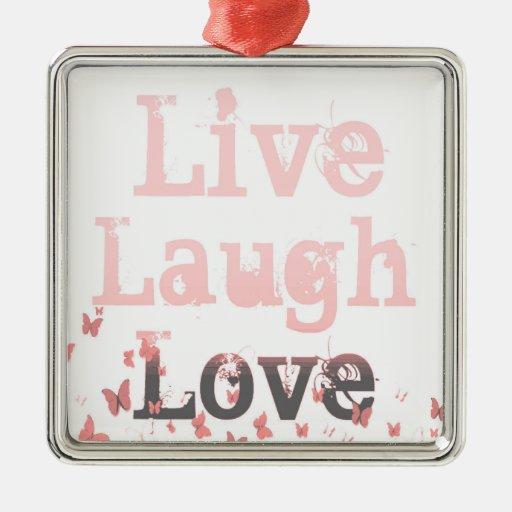 Live, Laugh, Love Butterflies Christmas Ornament