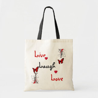 Live Laugh Love Butterfly Swirls Tote Bag