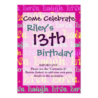 Live Laugh Love Encouraging Words Hot Pink Fuchsia 13 Cm X 18 Cm Invitation Card