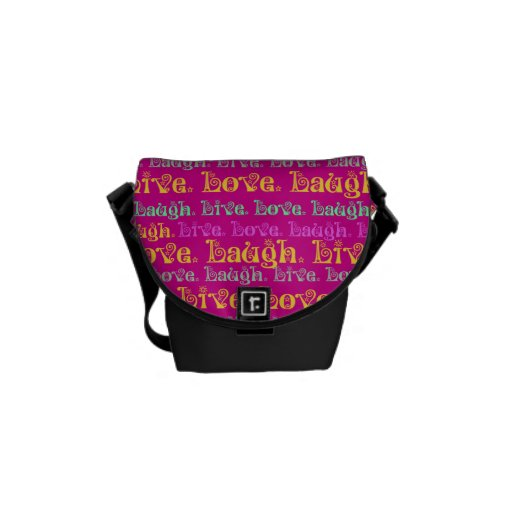 Live Laugh Love Encouraging Words Hot Pink Fuchsia Courier Bags