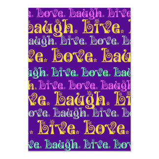 Live Laugh Love Encouraging Words Purple Girly 13 Cm X 18 Cm Invitation Card