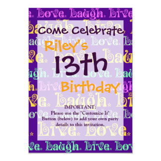 Live Laugh Love Encouraging Words Purple Girly 13 Cm X 18 Cm Invitation Card