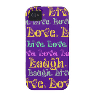 Live Laugh Love Encouraging Words Purple Girly iPhone 4/4S Cover