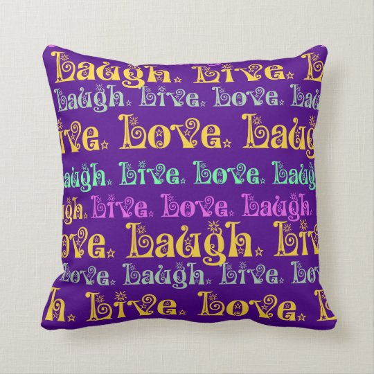 Live Laugh Love Encouraging Words Purple Girly Cushion