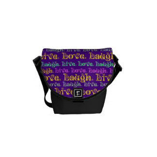 Live Laugh Love Encouraging Words Purple Girly Messenger Bag