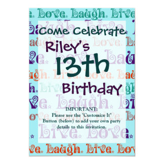 Live Laugh Love Encouraging Words Teal Blue 13 Cm X 18 Cm Invitation Card