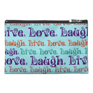 Live Laugh Love Encouraging Words Teal Blue Travel Accessories Bags