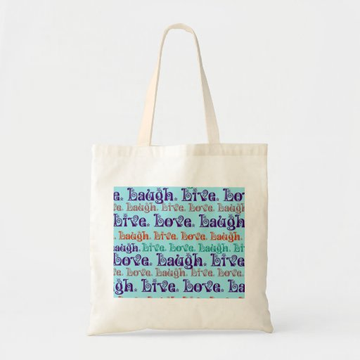 Live Laugh Love Encouraging Words Teal Blue Tote Bag