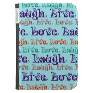 Live Laugh Love Encouraging Words Teal Blue Kindle 3 Case