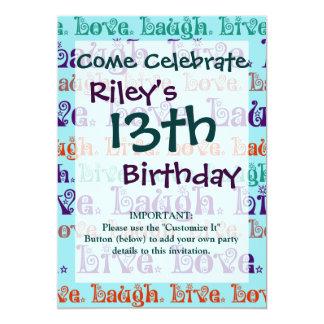 Live Laugh Love Encouraging Words Teal Blue 13 Cm X 18 Cm Invitation Card