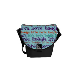 Live Laugh Love Encouraging Words Teal Blue Messenger Bags