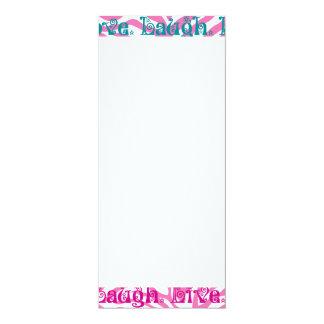 Live Laugh Love Girly Pink Zebra Stripes Print 10 Cm X 24 Cm Invitation Card