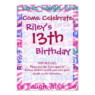 Live Laugh Love Girly Pink Zebra Stripes Print 13 Cm X 18 Cm Invitation Card