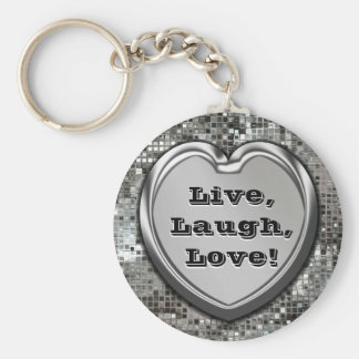 Live, Laugh, Love! Glitter Keychain