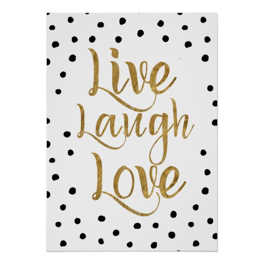 Live, Laugh, Love Gold and Dots Decorative Poster