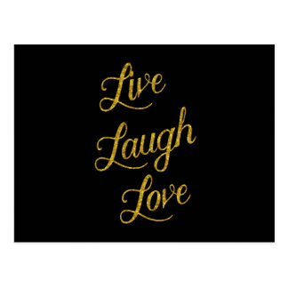 Live Laugh Love Gold Faux Glitter Metallic Sequins Postcard