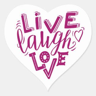 Live laugh love - hand lettering quote heart sticker