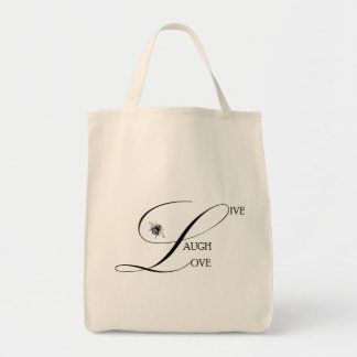 Live, Laugh, Love Inspirational Words & Bumble Bee Grocery Tote Bag