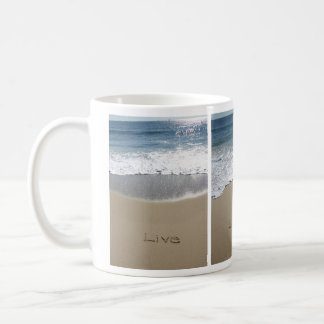 Live Laugh Love Jersey Shore Beach Writing Mug