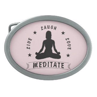 Live Laugh Love Meditate Female Text (blk) Oval Belt Buckle