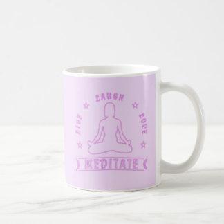 Live Laugh Love Meditate Female Text (neon) Coffee Mug