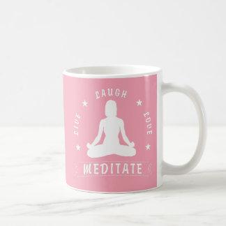 Live Laugh Love Meditate Female Text (wht) Coffee Mug