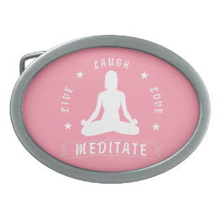 Live Laugh Love Meditate Female Text (wht) Oval Belt Buckle