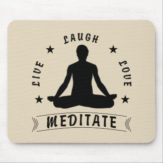 Live Laugh Love Meditate Male Text (blk) Mouse Mat