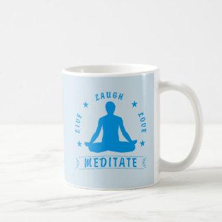 Live Laugh Love Meditate Male Text (blue) Coffee Mug
