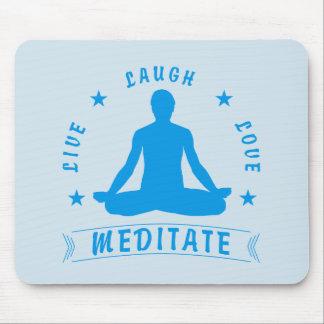 Live Laugh Love Meditate Male Text (blue) Mouse Mat