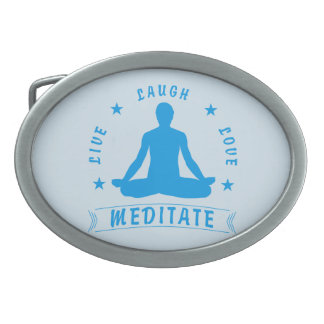 Live Laugh Love Meditate Male Text (blue) Oval Belt Buckles