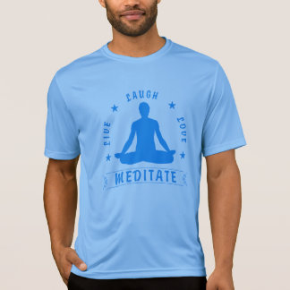 Live Laugh Love Meditate Male Text (blue) T-Shirt