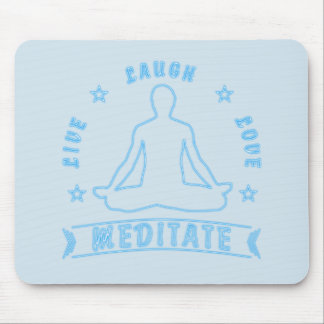 Live Laugh Love Meditate Male Text (neon) Mouse Mat