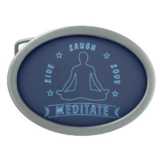Live Laugh Love Meditate Male Text (neon) Oval Belt Buckles